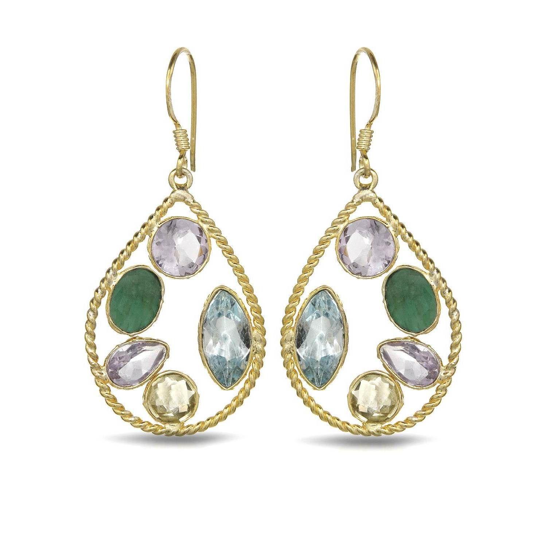 Gold over Silver 11 7/8ct TW Amethyst Earrings, Women's