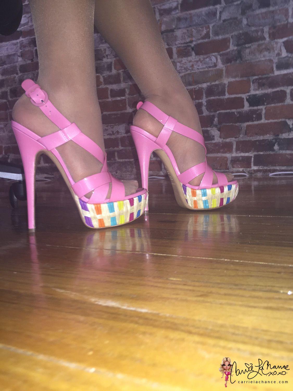 22630e948d21 Carrie LaChance in pink high heels  carrielachance  heels  highheels   casadei