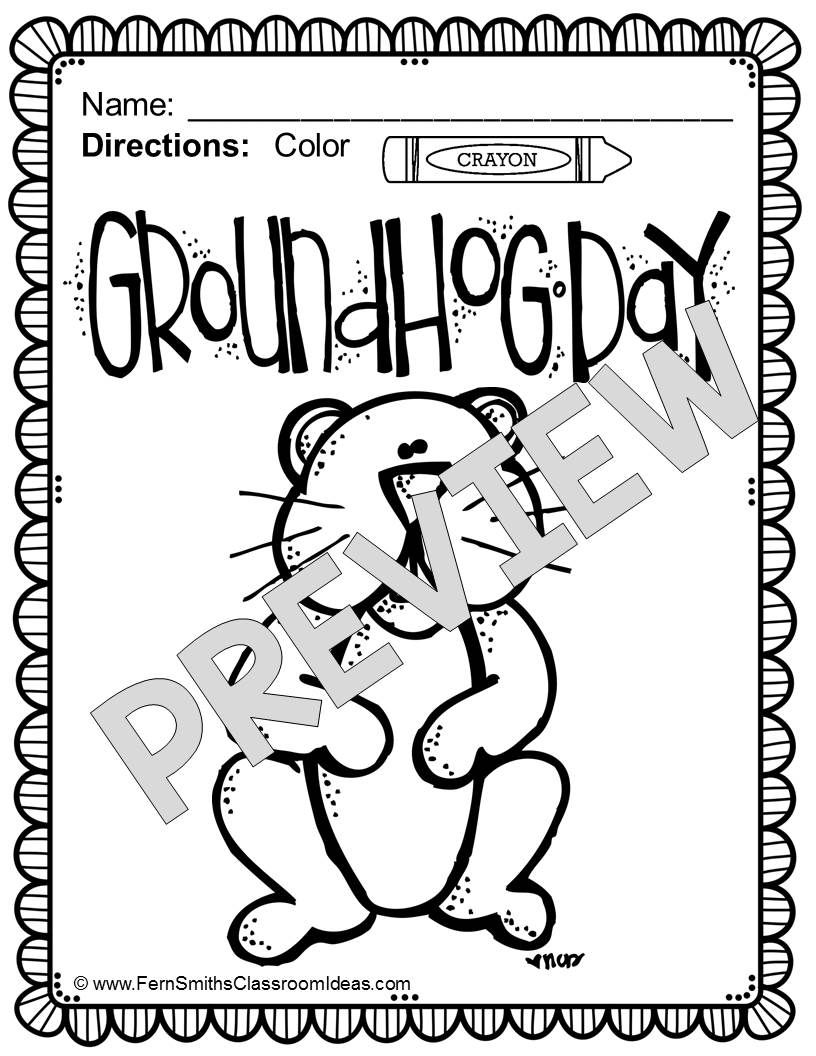 Fern Smith\'s FREE Color for Fun, Groundhog Day Freebie!