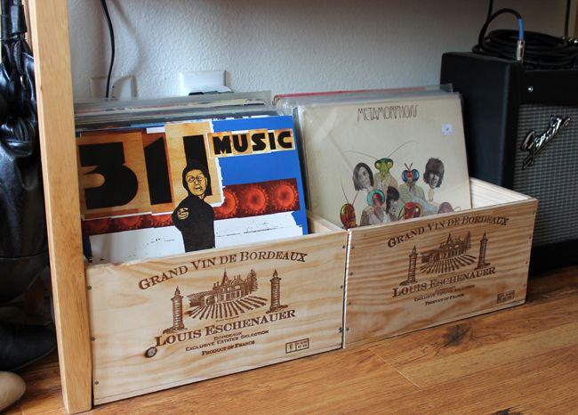 wine crates to store vinyl records