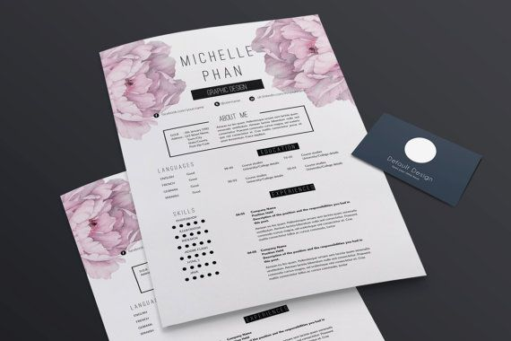 2 page CV / 2 page resume template  cover letter template /