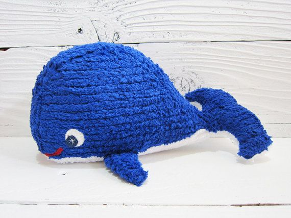 Blue Whale Plush Cotton and Wool Felt Stuffed Toy by katykristin, $38.00