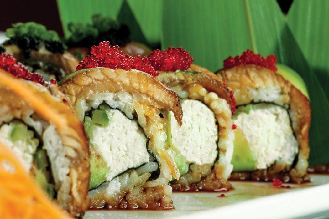 Dancing Eel Roll At Banrai Sushi Featuring Eel Avocado On Top Of Rosen Roll Lump Crab Cucumber Avocado Mayonna Cheap Healthy Meals Sushi Cheap Healthy