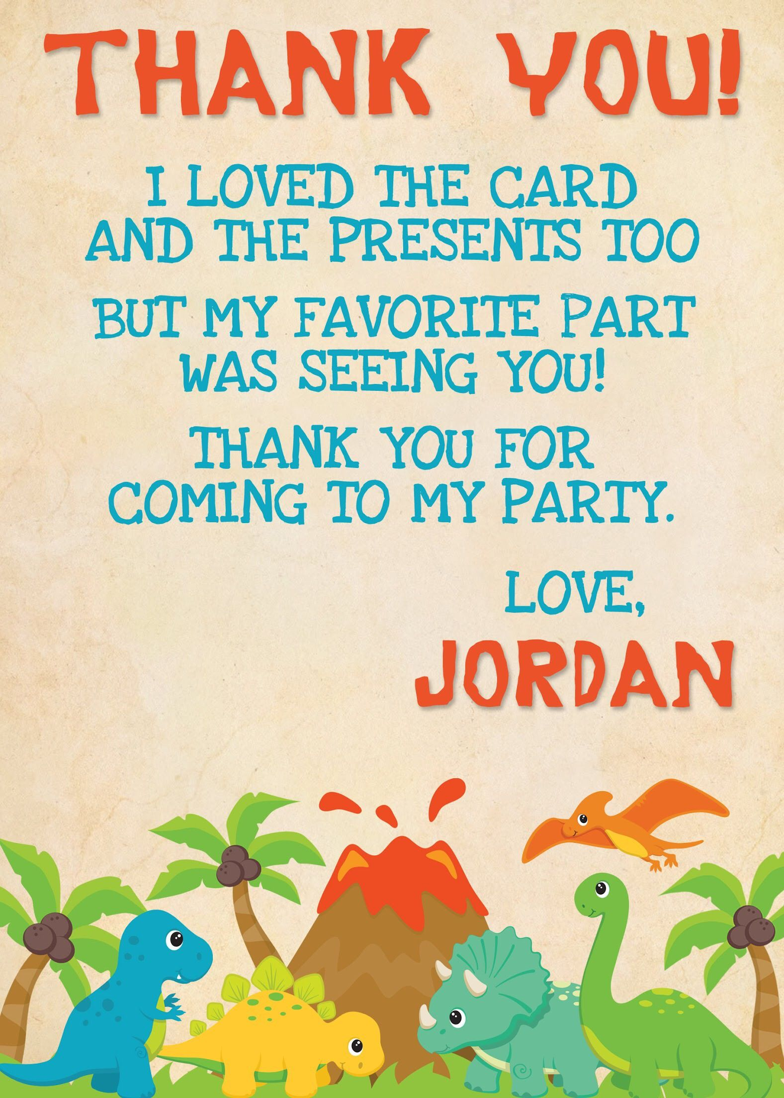 Pin By Melissa Garcia On Kids Birthday Thank You Cards Birthday Thank You Cards Thank You Cards From Kids Dinosaur First Birthday
