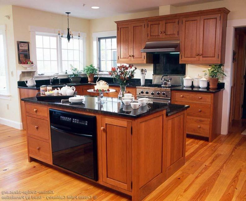 Kitchens With Cherry Cabinets Beige Marble Kitchen Countertops Copper Farmhouse Sink Sp Black Quartz Kitchen Countertops Cherry Cabinets Kitchen Kitchen Marble