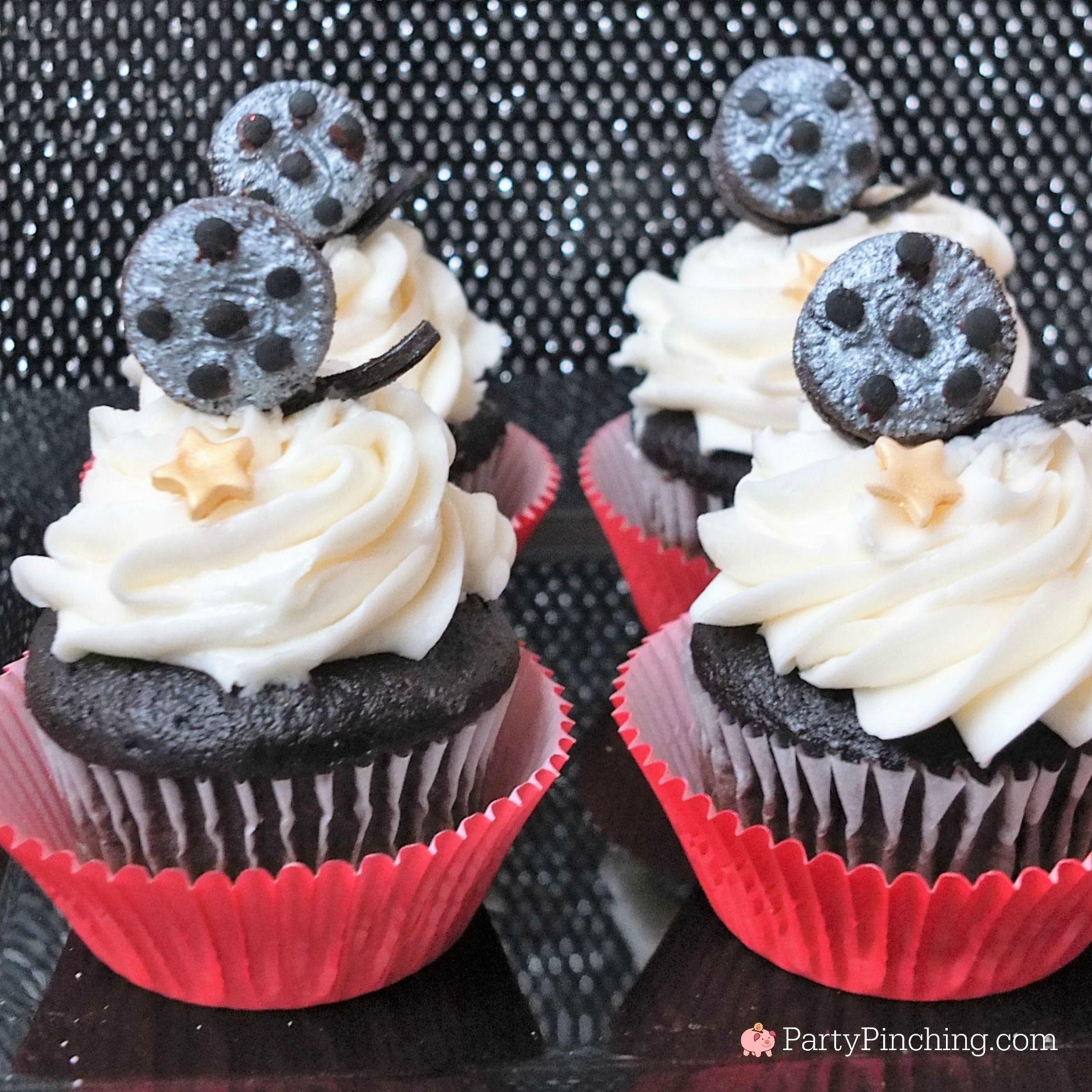 Movie cupcakes, movie night food recipes, Oscar Academy award party #academyaward