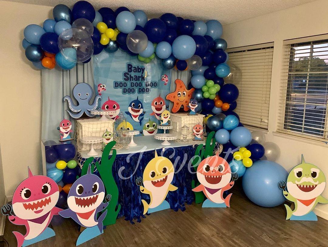 Baby Shark 1st Birthday Last Weekend Balloons Backdrop Partybanner Ba Shark Theme Birthday Shark Themed Birthday Party Baby Boy 1st Birthday Party