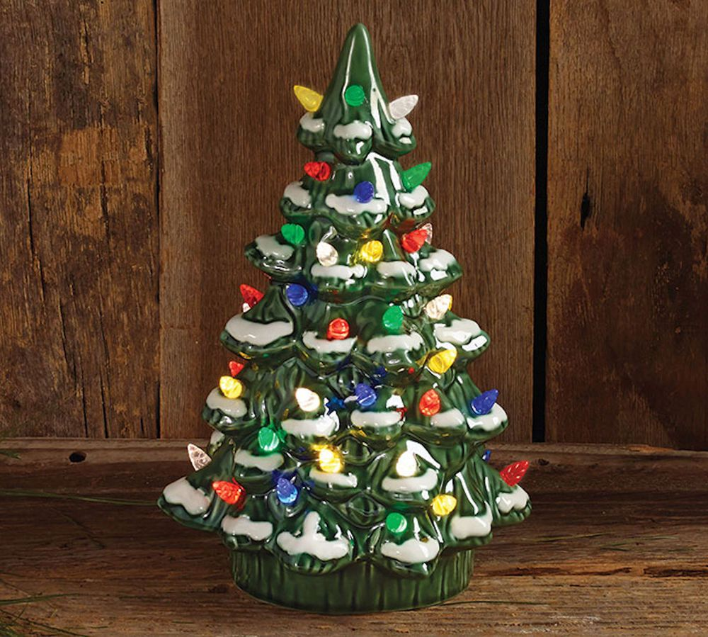 Porcelain Lighted Christmas Tree 12 Inch Tall Figurine Burton Burton Burtonburton Retro Christmas Tree Hanging Christmas Lights Outdoor Christmas Decorations