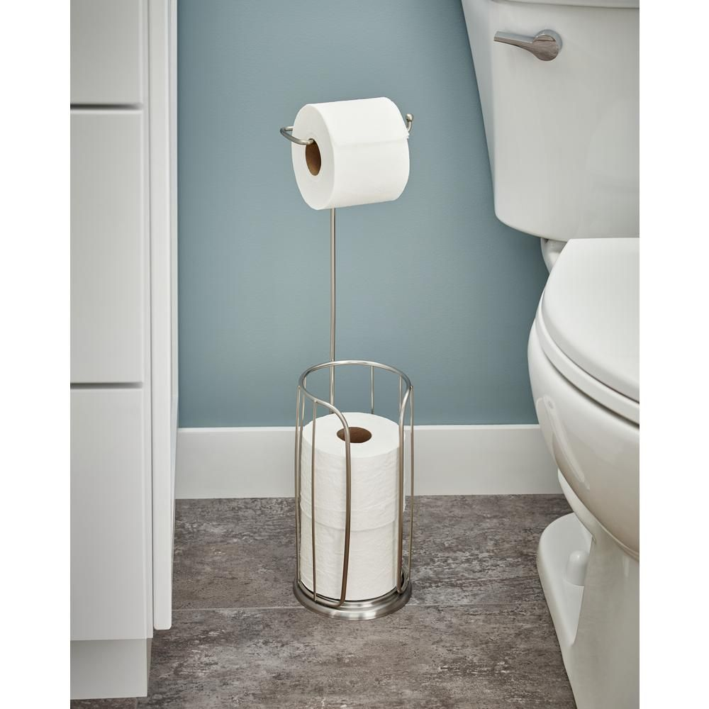 Franklin Brass Freestanding Toilet Paper Holder With Reserve Brushed Nickel 193150 Sn The Home Depot Toilet Paper Holder Paper Holder Franklin Brass
