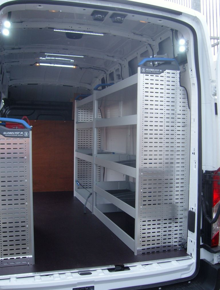 Transit L3 H3 Sortimo Racking 4 Shelf Offside Kit With Rubber Mats And Dividers Van Organization Van Storage Van Shelving