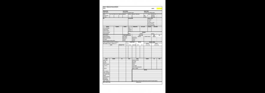 Daily Production Report Daily Film Production Report Template