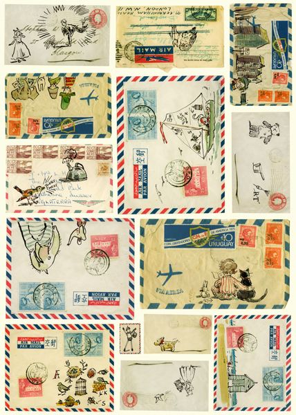 illustration! airmail! stamps! love this. via gingham & watercolors.