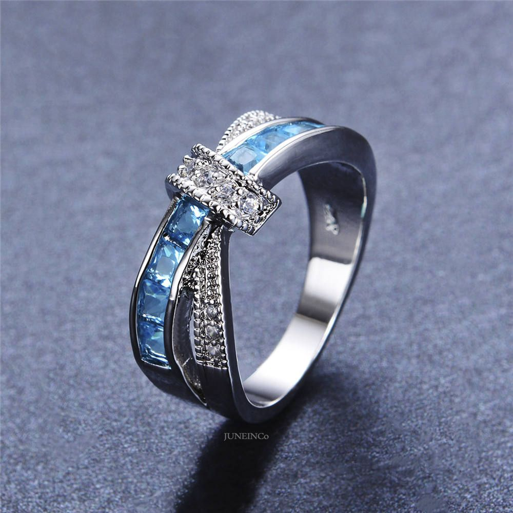 Infinity Blue Topaz Band Ring White Gold Ring CZ Ring