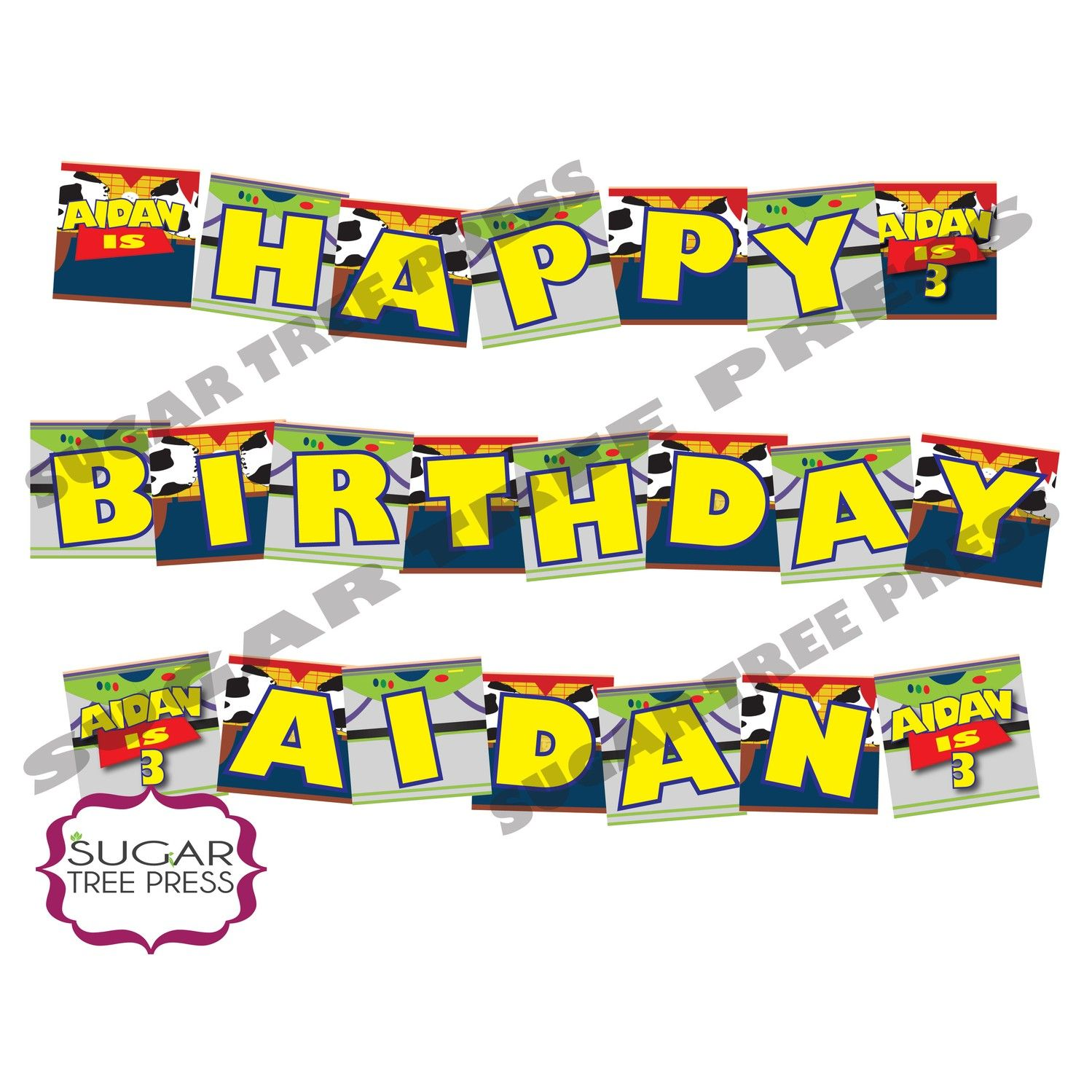 Printable Toy Story Inspired Happy Birthday Banner Buzz And Woody Via Etsy Jpg 1499x1499