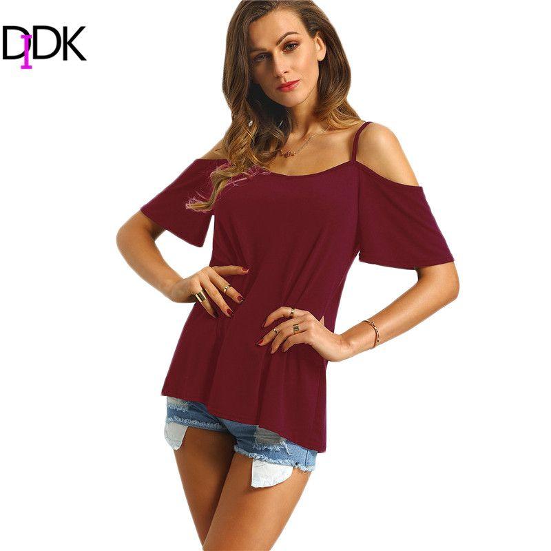0c25a16b70166 DIDK Casual Tops 2016 Summer Beach Wear New Fashion Women Short Sleeve Cold  Shoulder Spaghetti Strap Loose T-shirt