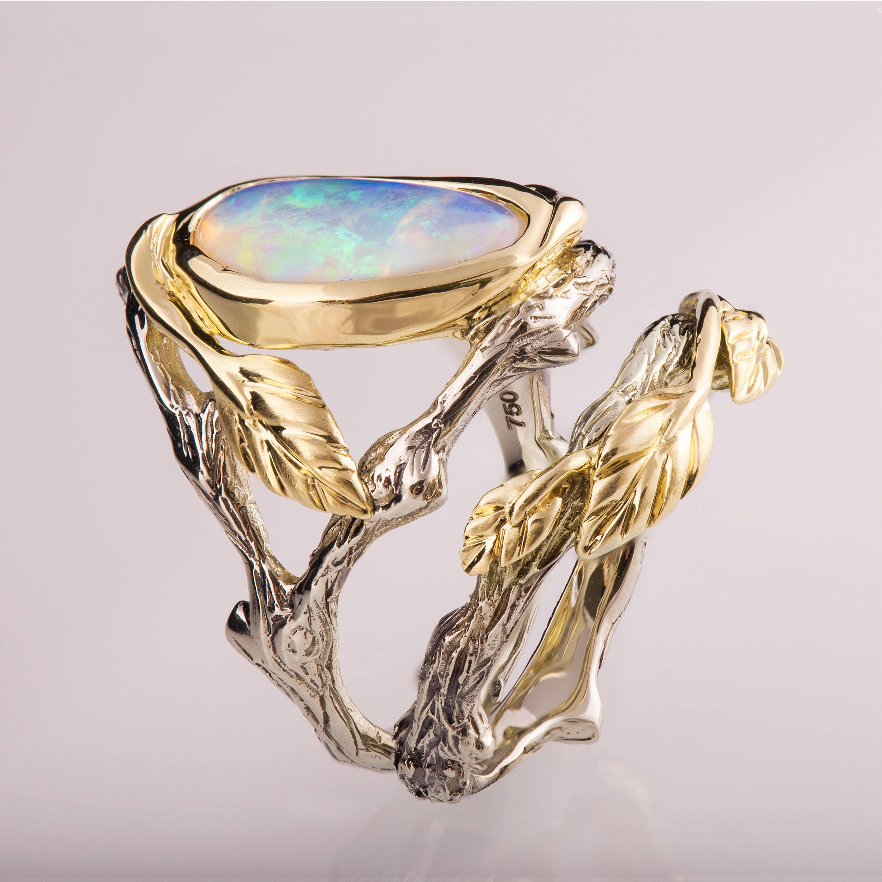 Twig and Leaf Engagement Set, Opal Ring, Opal engagement