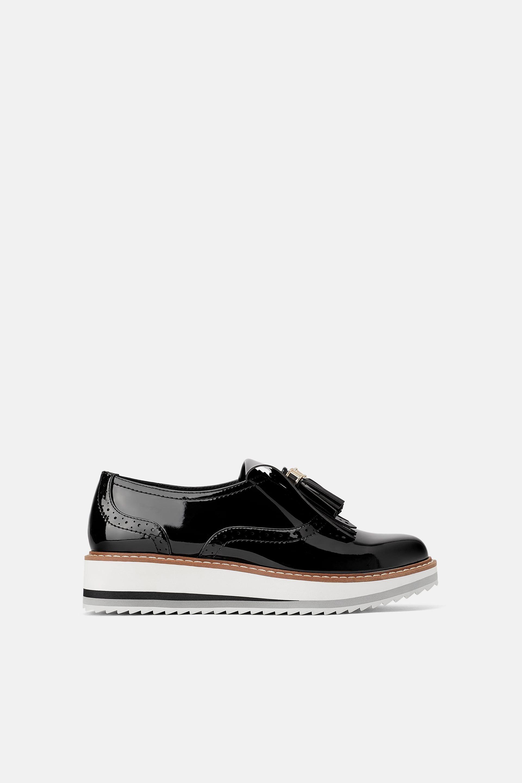 Patent finish platform derby shoes   Derby shoes, Shoes