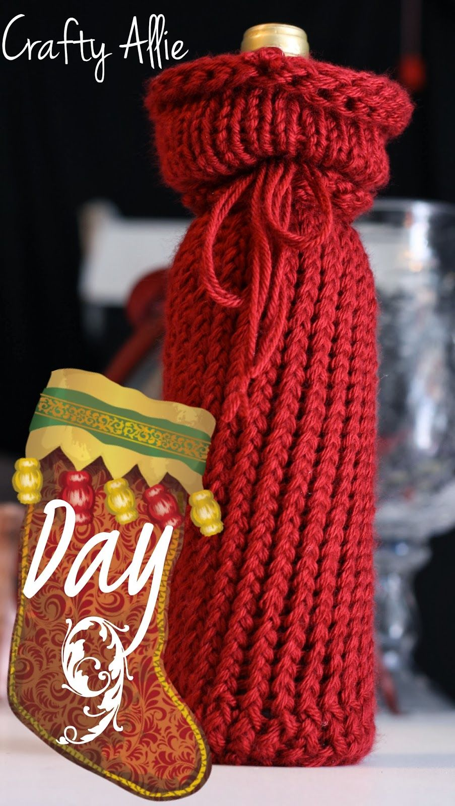 12 Days Of Christmas Day 9 Knitted Wine Bottle Cover Loom Knitting Projects Wine Bag Pattern Christmas Knitting Patterns Free