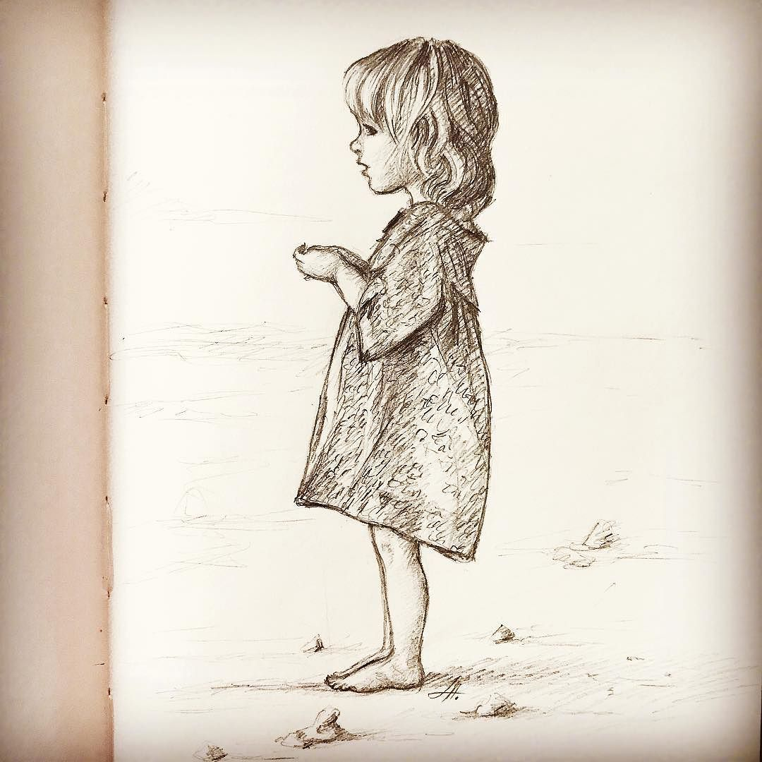 Little girl drawing quick sketch kiddrawing kidsillustration childrenillustration pencilsketch pencil sketch annaabramskaya art