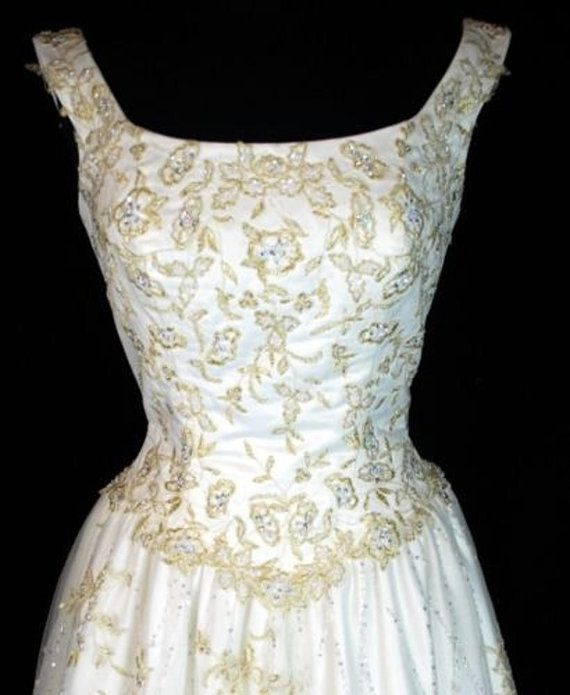 VICTORIAN Crystal Sequin Pearl Gold FLORAL APPLIQUE Net Overlay ...