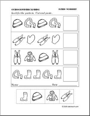worksheet winter clothing follow the pattern preschool primary abcteach homeschool. Black Bedroom Furniture Sets. Home Design Ideas