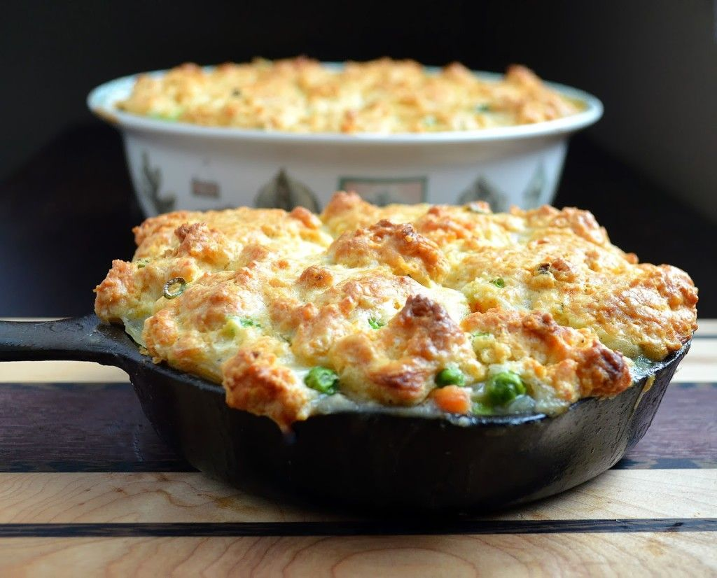 Chicken Pot Pie Topped with Jalapeno & Scallion Biscuits
