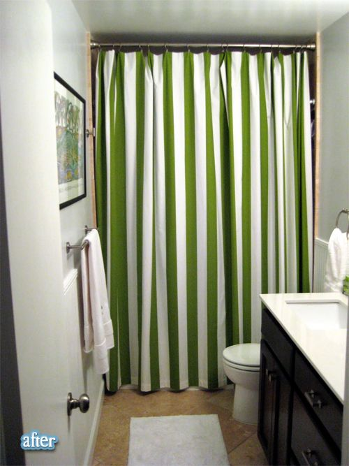 Can I Please Have That Shower Curtain With The Dark Wood Cabinets