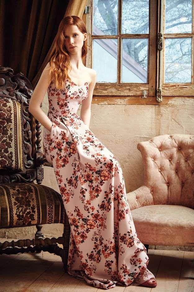 dolores promesas vestido flores rosa - romántico vestido largo con