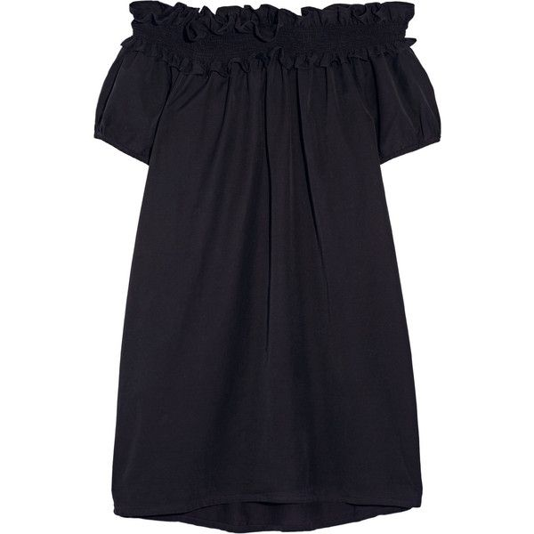 CLU Off-the-shoulder brushed silk and cotton-blend dress (1.360 BRL) ❤ liked on Polyvore featuring dresses, blue, clu, blue dress, off the shoulder dress, blue off the shoulder dress y navy dress