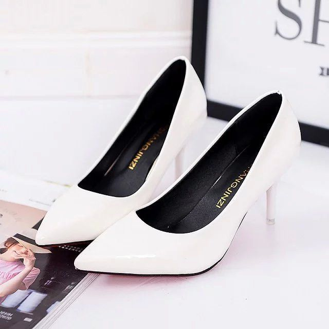 Pointed Toe Pumps Patent Leather Dress Shoes High Heels Boat Shoes