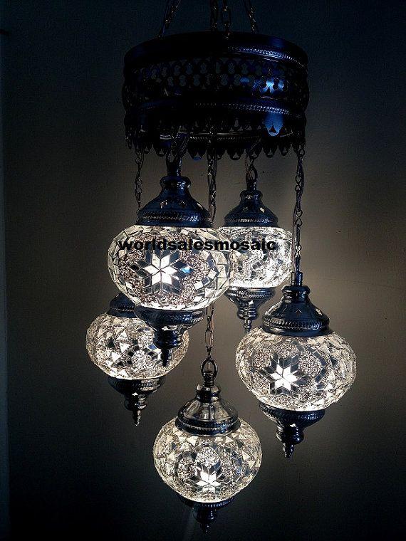 5 ball Turkish Moroccan Hanging Glass Mosaic Chandelier Lamp ...