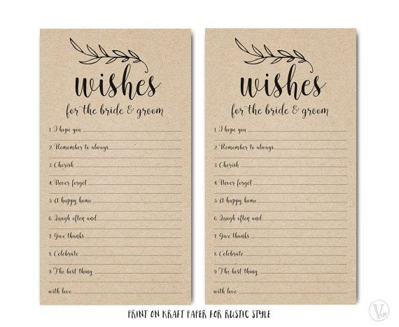 Printable Wishes For The Bride And Groom Template By VineWedding