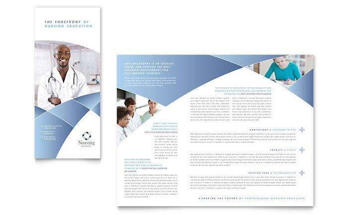 Nursing School Hospital Tri Fold Brochure Design Template by – Free Medical Brochure Templates