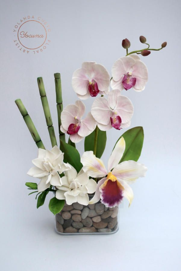 Bouquet Of Flowers In Sugar Phalaenopsis Orchid Cattleya Orchid Gardenias And Bamboo Orchid Flower Arrangements Flower Arrangements Simple Paper Flowers