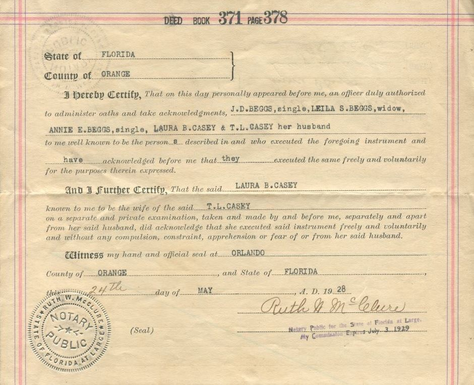 QuitClaim Deed Certifying The Transfer Of Land From JD Beggs