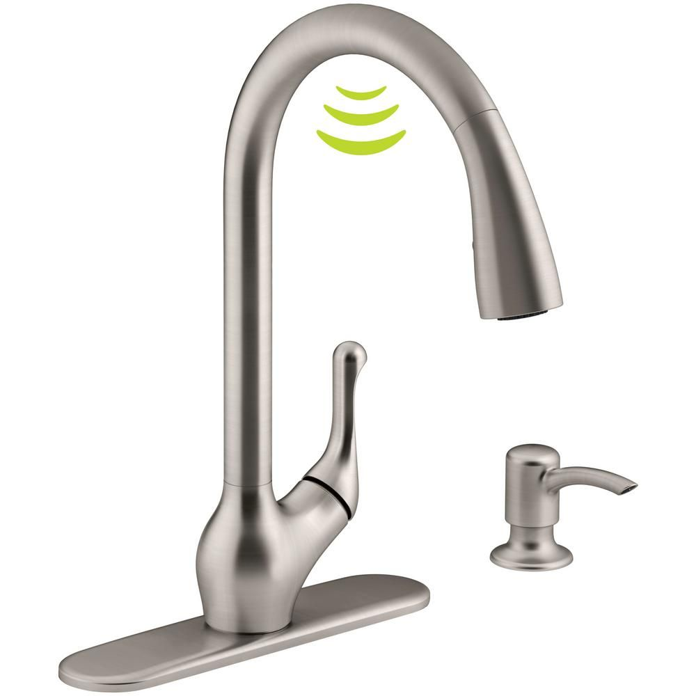 KOHLER Barossa With Response Touchless Technology Single Handle Pull Down  Sprayer Kitchen Faucet In Vibrant Stainless K R78035 SD VS   The Home Depot