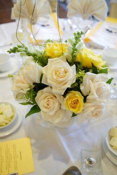 Reception, Centerpiece, White, Wedding, Yellow, Ivory, Pacific palms resort