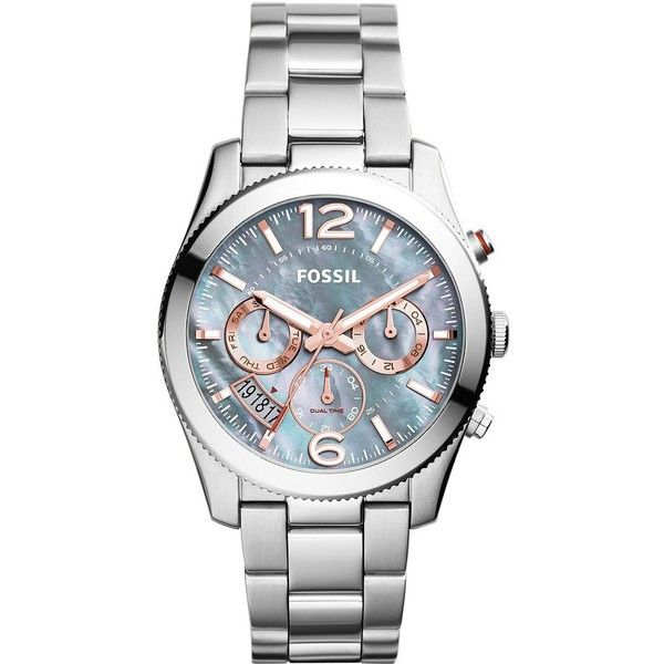 Fossil Stainless Steel Boyfriend Watch ($155) ❤ liked on Polyvore featuring jewelry, watches, silver, fossil jewelry, stainless steel jewelry, stainless steel wrist watch, gold tone watches and stainless steel watches