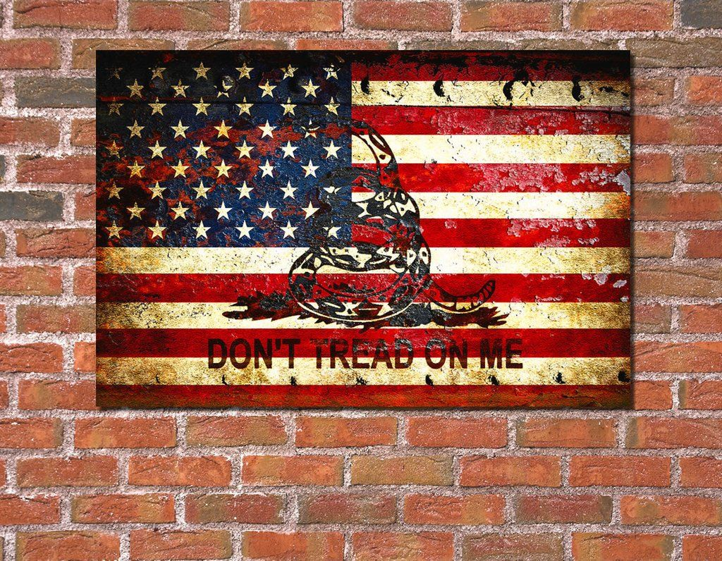 American Flag And Viper On Rusted Metal Door Don T Tread On Me American Flag Art American Flag Wood Flag Art