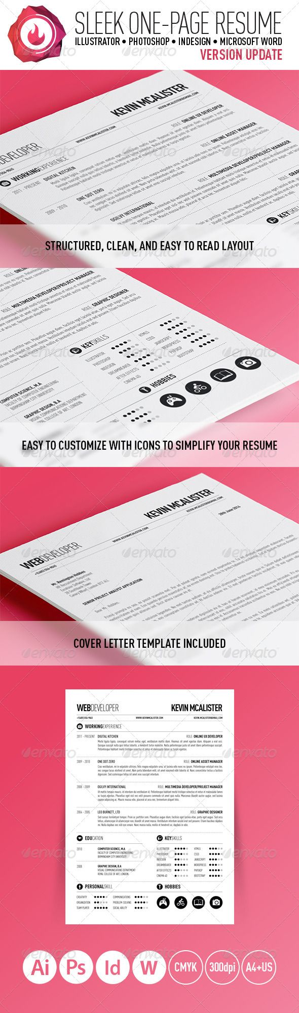 Sleek OnePage Resume  Resume Cv Psd Templates And Cv Design