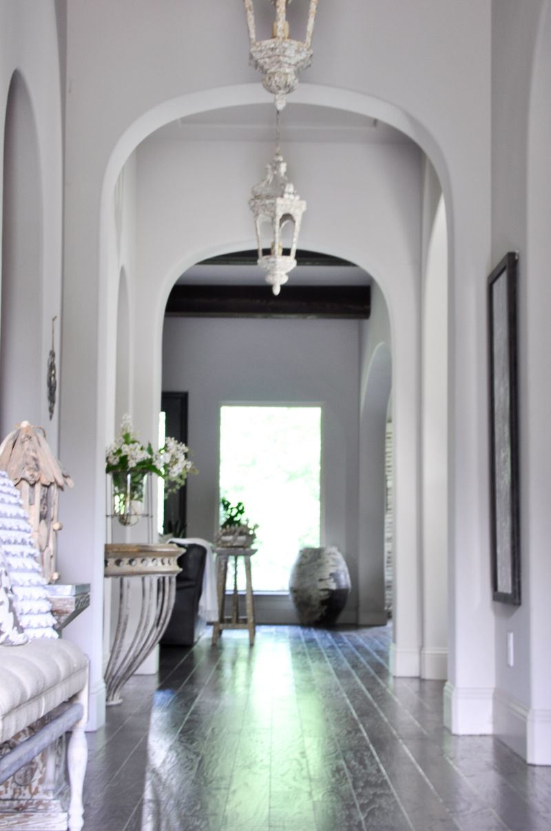 Summer home tour entry hall pendant lighting and beams