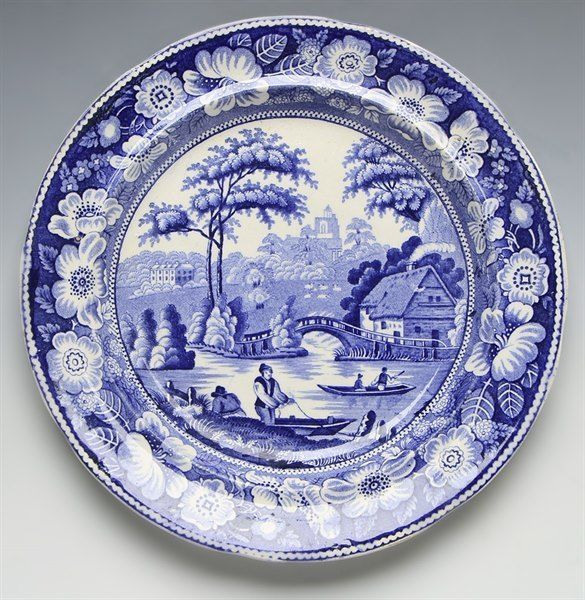 Blue And White Plates antique staffordshire wild rose blue & white plate c.1830 | white