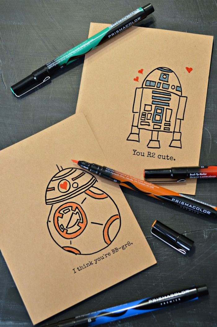 Hand Drawn Star Wars Valentines Star Wars Crafts
