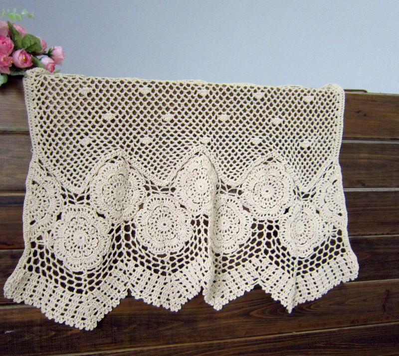 Vintage Style off White hand crochet Valance/Cafe Curtain D-1-2012 ...