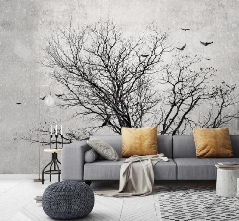 3d Cold Tones Silhouette Branch Wallpaper Removable Self Adhesive Wallpaper Wall Mural Vintage Art Peel And Stick With Images Wall Murals Mural Traditional Wallpaper
