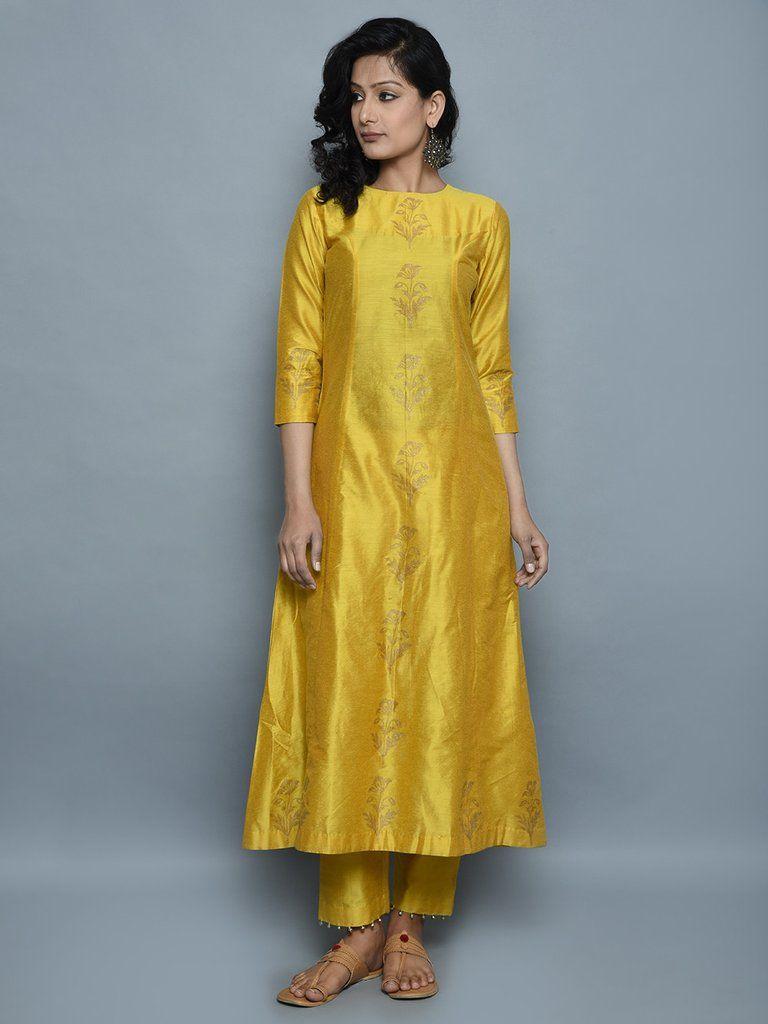 69590881ada3 Mustard Cotton Silk Hand Block Printed Kurta