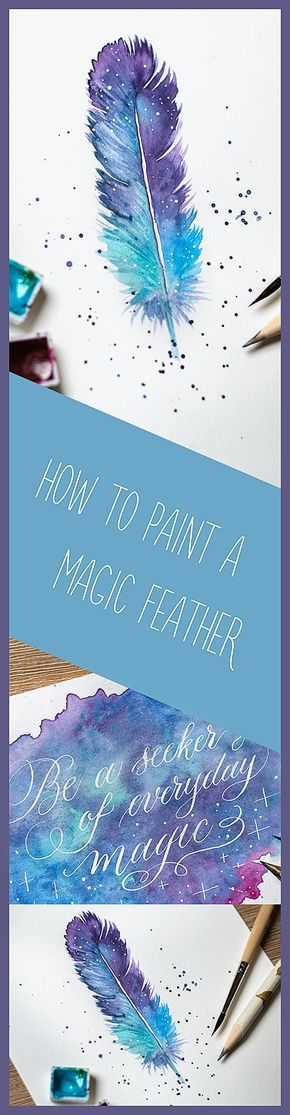 How to paint a magical feather in watercolour video tutorial