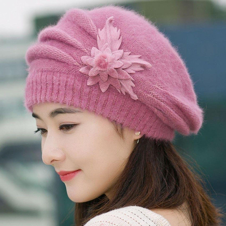 4cdfb5a4cca Fashion Womens Flower Knit Crochet Beanie Hat Winter Warm Cap Beret ...