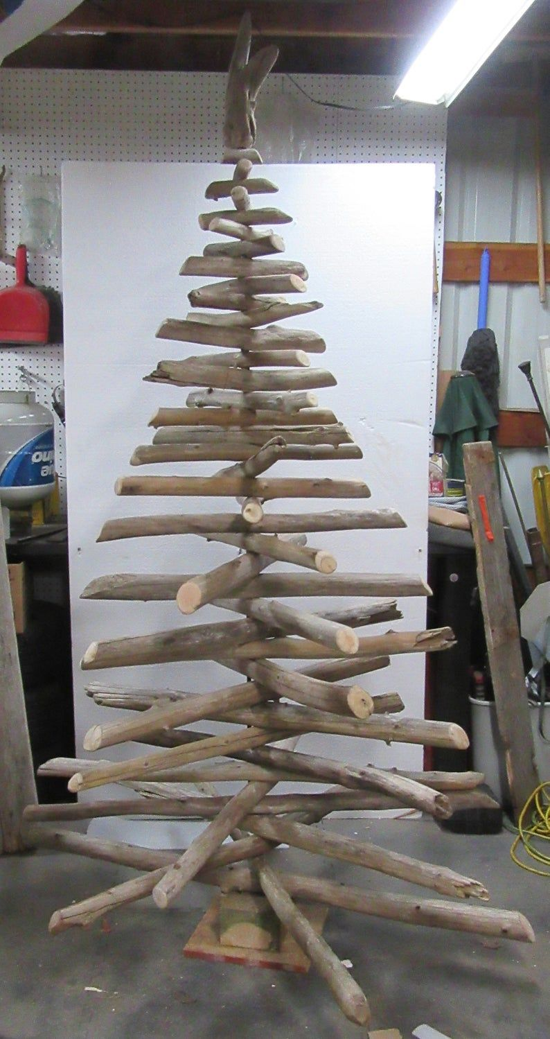 Rustic 7ft Driftwood Christmas Tree Handcrafted Xmas Tree Use Etsy Driftwood Christmas Tree Stick Christmas Tree Christmas Tree Crafts