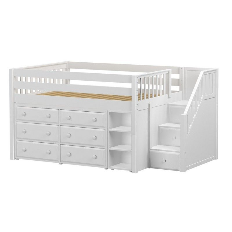 Best Perfect1 Ws Low Loft Bed With Staircase 6 Drawer 400 x 300
